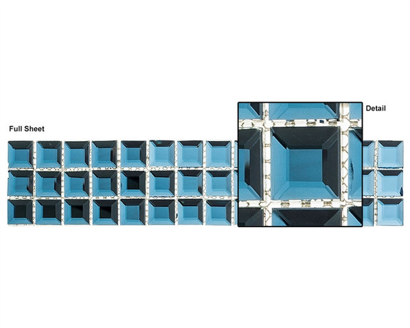 Kasbah - KS542 Mediterranean Blue - 2.5 X 12 Beveled Mirror Glass Tile Mosaic Border Liner Strip