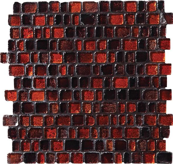 Daltile Fanfare Jewel Tide Glass Mosaic - JT07 Bonfire - 3/4 X Random Tumbled Glossy Sea Glass Style
