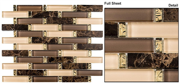 Interlace - INT-255 Crunched Walnut - 7/8 X 3-7/8 Brick Linear Glass & Natural Stone Mosaic Tile