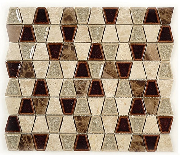 Tranquil Trapezoid - TS-932 Quiet Mahogany - Crackle Jewel Glass & Natural Stone Decorative Mosaic Tile - Sample
