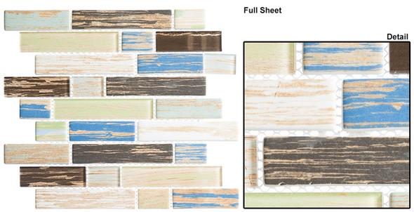 Textile - TXT 6414 Khaki Stonewash - Random Subway Brick Shape Glass Mosaic - Sample