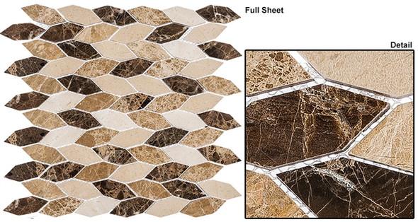 "Colonial - CLNL-283 Rock Haven - 2"" Long Hexagon Leaf Shape Marble Stone Mosaic - Sample"