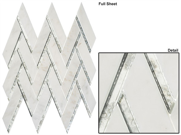 Peaks Harbor - PH481 Ornate Crest - Chevron Pattern Mirror Glass & Natural Stone Mosaic Tile