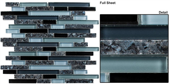 Glass & Granite - GG15 Hampton Path - Blue Pearl Random Linear Blend Mosaic