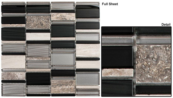 Corrugated Scape - CSS-126 Ebony Cliff - Multi Size Offset Glass & Natural Stone Mosaic Tile