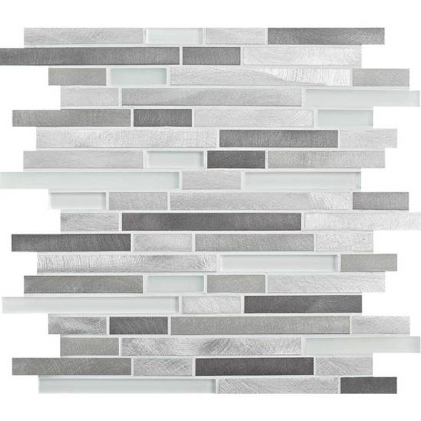American Olean Morello - MM02 Moonstone- 5/8 X Linear Glass and Aluminum Metal Tile Strip Stick Mosaic * SAMPLE *