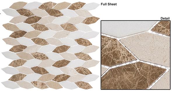 "Colonial - CLNL-284 Providence Pier - 2"" Long Hexagon Leaf Shape Marble Stone Mosaic - Sample"