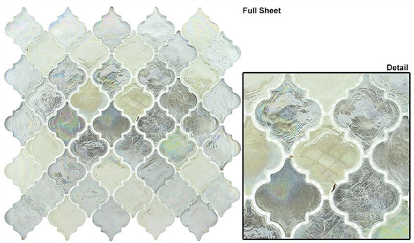 Dentelle Arabesque Glass Tile Mosaic - DTL-3004 April Shower - Moroccan Style Glass - Iridescent Gloss - Sample