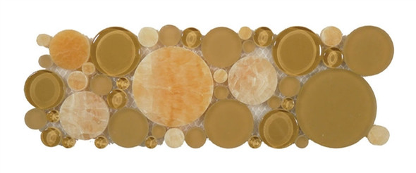 Supplier: Tile Store Online, Name: B500, Color: Butterscotch,Type: Round Glass & Stone Mosaic Listello Border, Size: 4X12