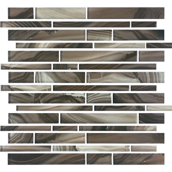 American Olean Entourage Refluence - RE12 Grotto - Random Linear Interlocking Glass Tile Mosaic - Glossy