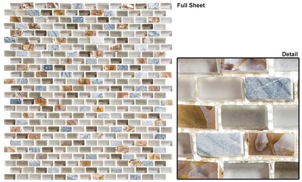 Americana - AMER-394 Coupe De Ville - 3/4 X 3/8 Mini Brick Subway Glass & Stone Mosaic Tile - Sample