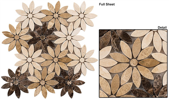 Bouquette - BQT-672 Chestnut Blossoms - Flower Pattern Mix of Glass, Stone, & Metal Mosaic Tile - Sample