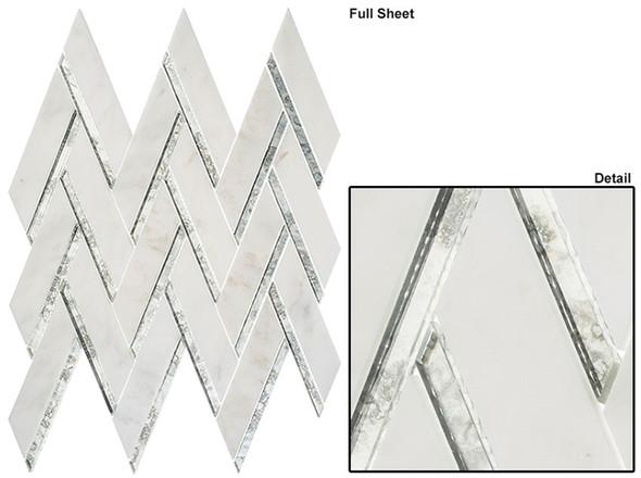 Peaks Harbor - PH481 Ornate Crest - Chevron Pattern Mirror Glass & Natural Stone Mosaic Tile - Sample