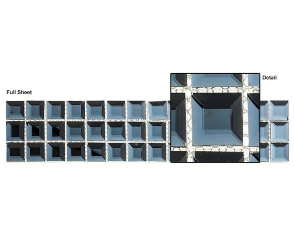Kasbah - KS543 Date Palm - 2.5 X 12 Beveled Mirror Glass Tile Mosaic Border Liner Strip
