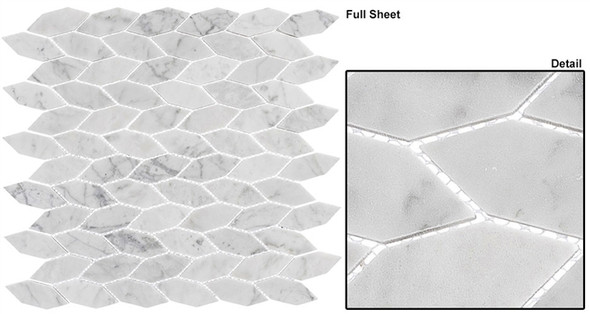 "Colonial - CLNL-285 Captians Manor - 2"" Long Hexagon Leaf Shape Marble Stone Mosaic - Sample"