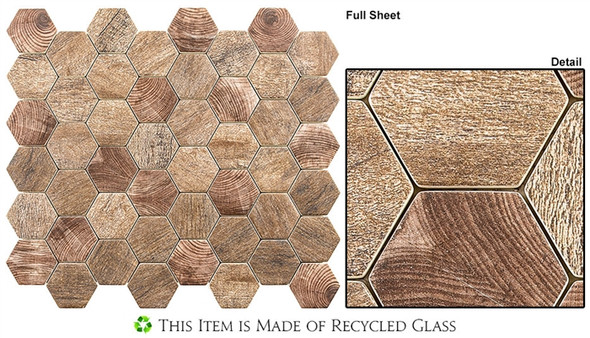 "Woodland - WDL-4001 Autumn Maple - 2"" Hexagon Wood Look Recycled Glass Tile Mosaic"