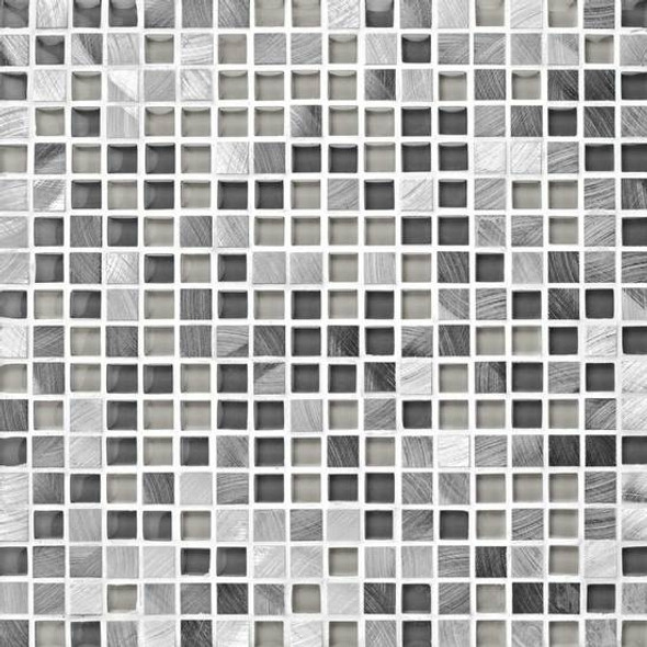 American Olean Morello - MM03 Obsidian - 5/8 X 5/8 Square Glass and Aluminum Metal Tile Mosaic * SAMPLE *