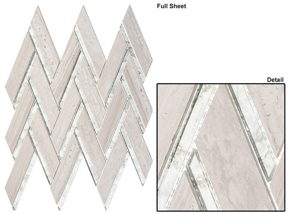 Peaks Harbor - PH482 Kings Summit - Chevron Pattern Mirror Glass & Natural Stone Mosaic Tile