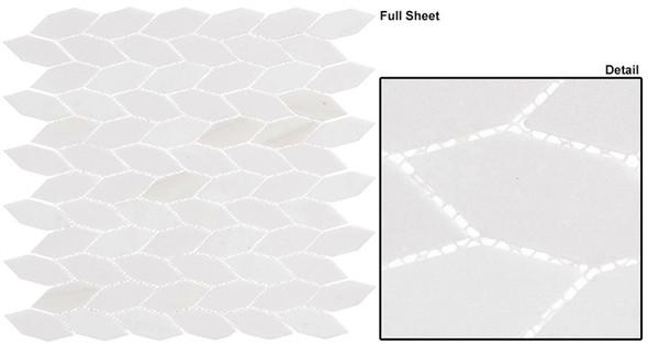 "Colonial - CLNL-286 Light Canopy - 2"" Long Hexagon Leaf Shape Marble Stone Mosaic- Sample"