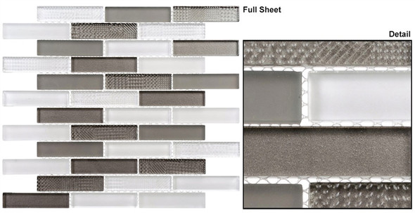Grand Turret - GTS-141 Persian Quest - 1 X 4 Brick Linear Textured Mix Glass Tile Mosaic - Sample