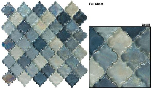 Dentelle Arabesque Glass Tile Mosaic - DTL-3005 Heavenly Lagoon - Moroccan Style Glass - Iridescent Gloss - Sample