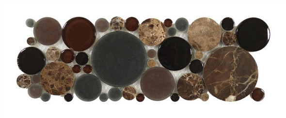 Supplier: Tile Store Online, Name: B600, Color: Twilight,Type: Round Glass & Stone Mosaic Listello Border, Size: 4X12