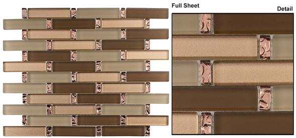 Interlace - INT-256 Peach Field - 7/8 X 3-7/8 Brick Linear Glass & Natural Stone Mosaic Tile - Sample