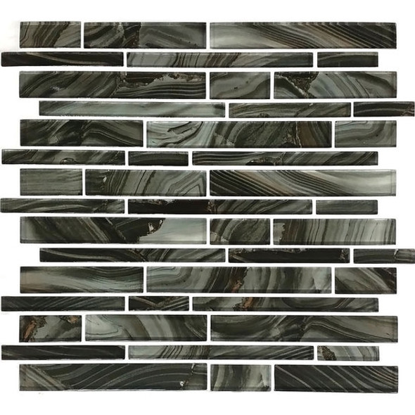 American Olean Entourage Refluence - RE13 Torrent - Random Linear Interlocking Glass Tile Mosaic - Glossy