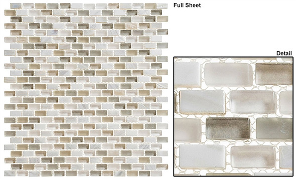 Americana - AMER-395 Main Street - 3/4 X 3/8 Mini Brick Subway Glass & Stone Mosaic Tile - Sample
