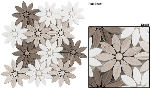 Bouquette - BQT-673 Fresh Bouquet - Flower Pattern Mix of Glass, Stone, & Metal Mosaic Tile - Sample