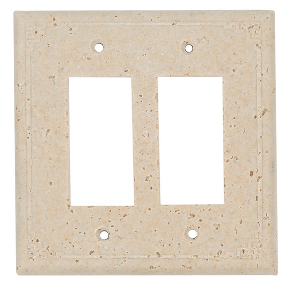 Resin Travertine Faux Stone Wall Switch Plate Outlet Cover - Double Rocker GFCI - Geometric - Light Travertine Color - $6.99