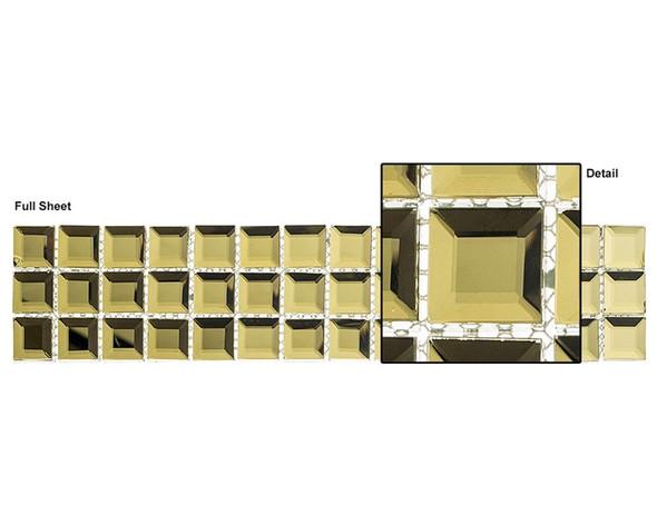 Kasbah - KS544 Golden Scarf - 2.5 X 12 Beveled Mirror Glass Tile Mosaic Border Liner Strip
