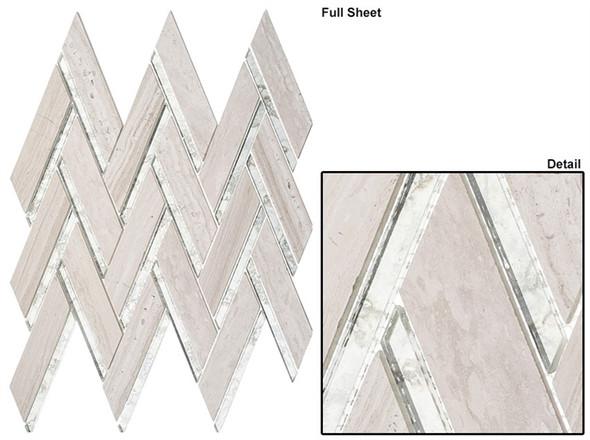 Peaks Harbor - PH482 Kings Summit - Chevron Pattern Mirror Glass & Natural Stone Mosaic Tile - Sample