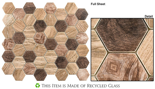 "Woodland - WDL-4002 Western Redwood - 2"" Hexagon Wood Look Recycled Glass Tile Mosaic"