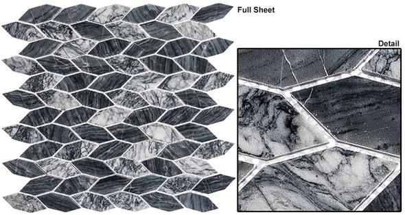 "Colonial - CLNL-287 Salem Charcoal - 2"" Long Hexagon Leaf Shape Marble Stone Mosaic - Sample"