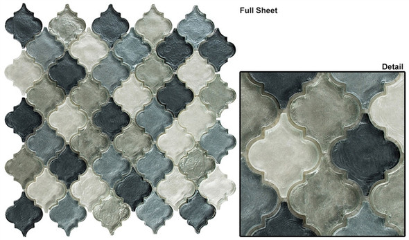 Dentelle Arabesque Glass Tile Mosaic - DTL-3006 Waterfall Grey - Moroccan Style Glass - Iridescent Gloss