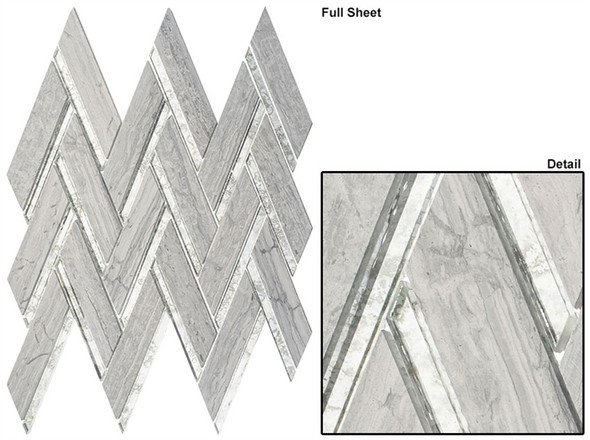 Peaks Harbor - PH483 Teton Scape - Chevron Pattern Mirror Glass & Natural Stone Mosaic Tile