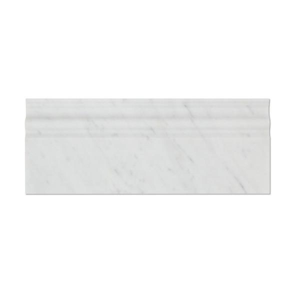 Italian White Carrara Marble - 5 X 12 Baseboard Base Molding - Polished Finish - Sample