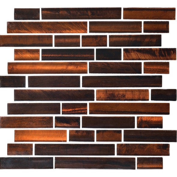 Supplier: Daltile Fanfare, Series: Tiger Eye, Name: TE27 Bengal - Glossy, Category: Glass Tile, Size: Random