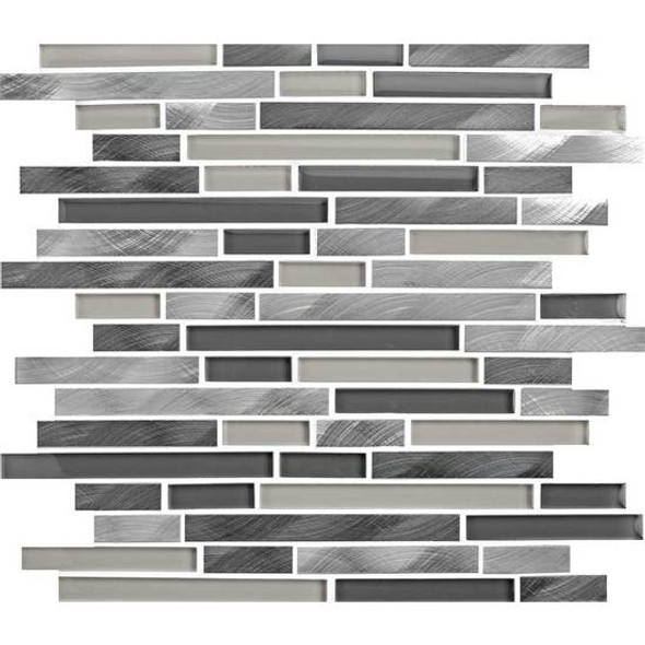 American Olean Morello - MM03 Obsidian- 5/8 X Linear Glass and Aluminum Metal Tile Strip Stick Mosaic *SAMPLE*
