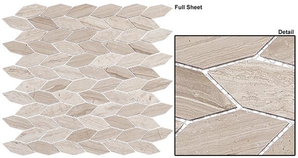 "Colonial - CLNL-288 Virginia Dunes - 2"" Long Hexagon Leaf Shape Marble Stone Mosaic - Sample"