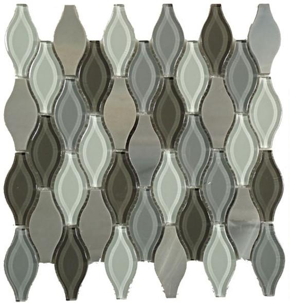 Seagull Glass - SGS-72 Polar Grey - Rhomboid Diamond Glass & Stone Mosaic Tile - Gloss - Sample