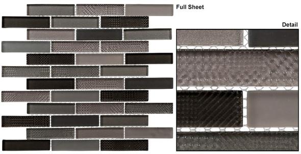 Grand Turret - GTS-142 Grey Truth - 1 X 4 Brick Linear Textured Mix Glass Tile Mosaic - Sample