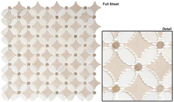 Flower - FS-73 Thassos White Emperador Light Crema Marfil - Water Jet Floral Shape Marble Stone Mosaic - Sample