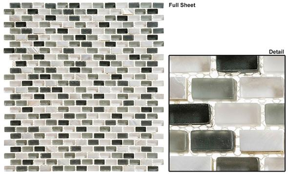 Americana - AMER-396 Malt Shop - 3/4 X 3/8 Mini Brick Subway Glass & Stone Mosaic Tile - Sample