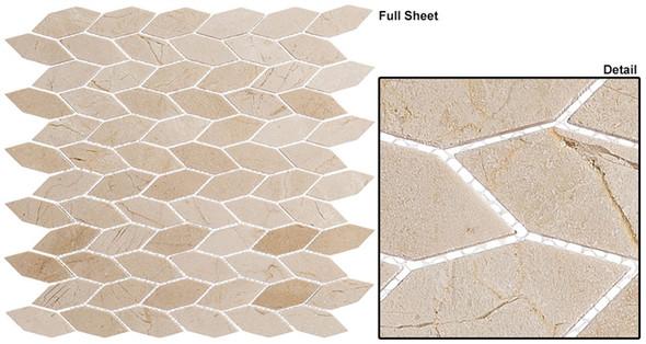 "Colonial - CLNL-289 Village Square - 2"" Long Hexagon Leaf Shape Marble Stone Mosaic - Sample"