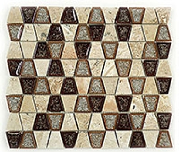 Tranquil Trapezoid - TS-935 Midday Aubergine - Crackle Jewel Glass & Natural Stone Decorative Mosaic Tile - Sample