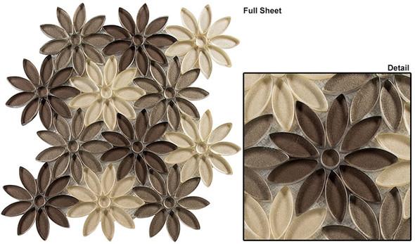 Bouquette - BQT-674 Neutral Vase - Flower Pattern Mix of Glass, Stone, & Metal Mosaic Tile - Sample