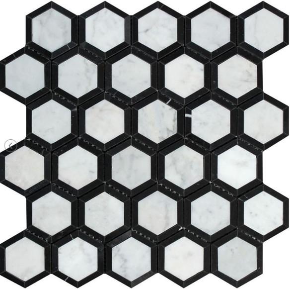 White Carrara Marble - 2 X 2 Vortex Hexagon With Black Mosaic - Polished - Premium Italian Carrera Natural Stone