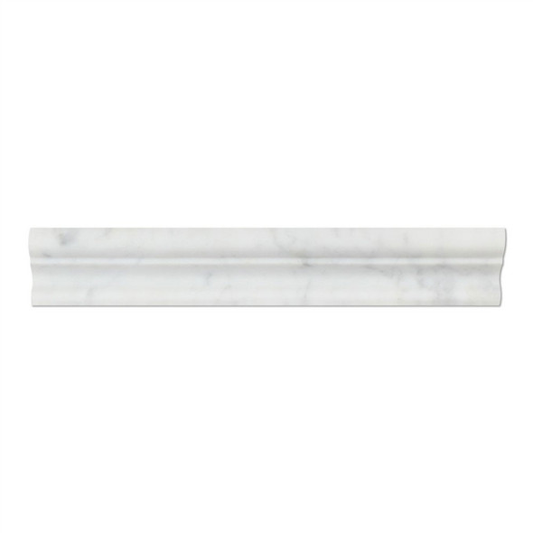 Italian White Carrara Marble - 2 X 12 Crown Mercer Chair Rail Ogee Molding - Honed Finish